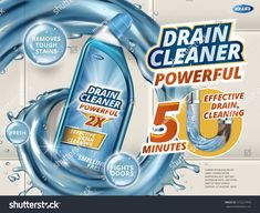 Drain cleaner ads, dynamic liquid with detergent bottle isolated on bathroom wall in illustration Toilet Drain, Clogged Toilet, Detergent Bottles, Laundry Detergent, Smart Packaging, Packaging Design, Visual Advertising, Laundry Design, Packaging