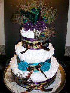 peacock diaper cake