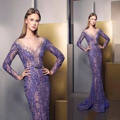 2016 Ziad Nakad Prom Dresses Deep V Neck Long Sleeve Lace Applique Beaded Sequins Mermaid Evening Dress Luxury Purple Formal…