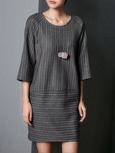 Shop Midi Dresses - Gray H-line Stripes Polyester 3/4 Sleeve Midi Dress online. Discover unique designers fashion at StyleWe.com.