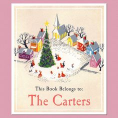 Christmas Town  Personalized Vintage Bookplates  Family by oiseaux, $16.75. CA