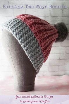 Ribbed Crochet, Easy Crochet Hat, Crochet Beanie Pattern, Crochet Cap, Crochet Round, Half Double Crochet, Crochet Hooks, Crochet Patterns, Hat Patterns