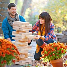 Make a stacking tower game from easy-to-cut, inexpensive 2 x 4s for about $15. Then take turns removing and stacking blocks until the pile collapses.