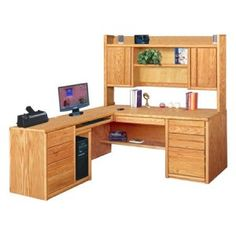 LShape Return Desk w Executive Hutch Set in Golden Oak