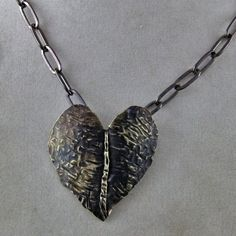 Handmade Foldformed Brass Heart Necklace by oscarcrow on Etsy, $18.00
