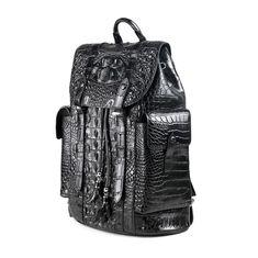 Handcrafted Crocodile Skin Backpack Shoulder Bag Travel Bag-Side-1 Luxury  Backpacks 7f8cce88e49a1