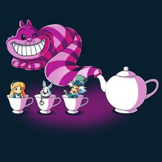 Mad Tea Party Alice in Wonderland TeeTurtle Disney Kunst, Arte Disney, Disney Magic, Disney Art, Disney Pixar, Disney Drawings, Cute Drawings, Chesire Cat, Alice In Wonderland Tea Party