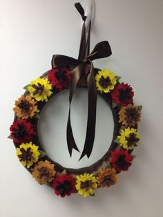 Wreath wreaths flower flowers  fall autumn ribbon felt etsy pairofpetals