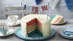 Bunting cake - and other Diamond Jubilee street party treats, thanks to BBC Food. Cupcakes, Cupcake Cakes, Love Cake, Celebration Cakes, Cakes And More, Baking Recipes, Bbc Recipes, British Recipes, Let Them Eat Cake