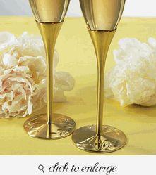 Wedding Toasting Glasses - Wedding Toasting Flutes - Venice Gold Personalized Wedding Toasting Flutes