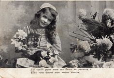 French antique postcards little girl 416 by Fairymelodycollect