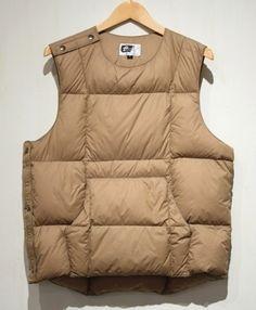 Engineered Garments Down Body Vest in Olive Nylon Taffeta