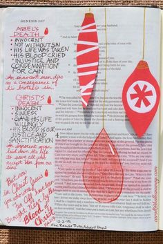 Genesis 4:2-12, Ephesians 2:13, December 3, 2015 carol@belleauway.com, colored pencil, paper ornaments, bible art journaling, bible journaling, illustrated faith, she reads truth advent