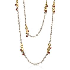"""Enchanted Vine #esbedesigns #Fall2014  #Brass And Stainless Steel, Hematite, Gold Pyrite, Faceted Red Agate Necklace - 52"""" #necklace. #handcrafted #gift #jewelry (See detail image at #HematiteDetailNecklace)"""