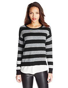 Kensie Women's Striped Twofer Sweater, Heather Grey Combo, X-Small kensie http://www.amazon.com/dp/B00LARYG2U/ref=cm_sw_r_pi_dp_8-oQwb1S4YMKE