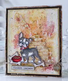 """We absolutely love this fun project we """"found"""" by Emma Williams using Tim Holtz's Crazy Dog dies for today's SimonSaysStamp.com Monday Challenge!  This card make would be perfect to give to a loved one on Valentine's Day"""