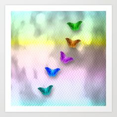 Art Print Rainbow of butterflies on textured chevron pattern by Wendy Townrow on Society6