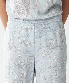 Long Indian print turquoise trousers - Bottom Half - PYJAMAS | Oysho