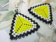 Beadwork Peyote Triangle Earrings in Black White by MadeByKatarina, $16.00