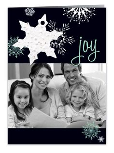 Custom Holiday Photo Cards : Joy Snowflake. Customizable, adorable, fun, sweet holidays card with seed paper ornament that grows into wildflowers!