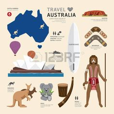 Travel Concept Australia Landmark Flat Icons Design .Vector Illustration photo