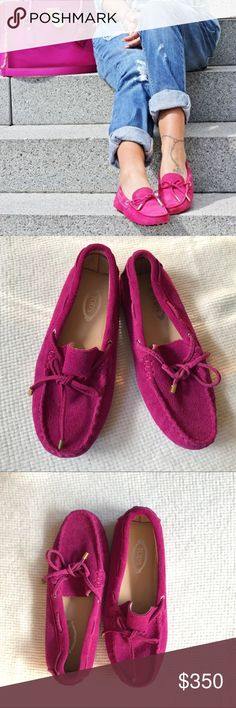 b33a5fd9eb5 TOD S hot pink fuchsia moccasins women s flats 37 Brand new without box Tod s  suede moccasins.