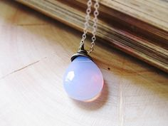 Iridescent Moon Necklace Czech Glass wire by thelittlehappygoose, $25.00