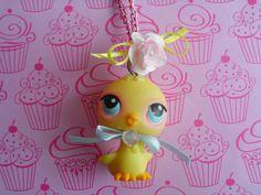 Littlest Pet Shop Chick Necklace Pendant Jewelry Cute Girl Teen Pink Yellow Ooak Gift Easter Chicken Doll Animal Bird
