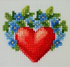 Lovely forget-me-nots heart Cross Stitch Heart, Cross Stitch Cards, Cross Stitch Samplers, Cross Stitch Flowers, Cross Stitching, Cross Stitch Embroidery, Embroidery Patterns, Hand Embroidery, Wedding Cross Stitch Patterns