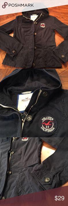 Hollister szS navy blue hooded utility jacket Excellent used condition Hollister szS navy blue hooded utility jacket...100%cotton...zips and button... Hollister Jackets & Coats Utility Jackets
