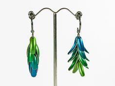 Junction Art Gallery - 'Elytra' reversible earrings anodised aluminium with silver hoop £150.00 www.junctionartgallery.co.uk