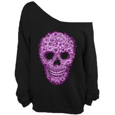 Skull Off Shoulder Slouchy Sweatshirt Sweater Big Oversize Sweater Off... ($22) ❤ liked on Polyvore featuring tops, hoodies, sweatshirts, shirts, sweaters, black, women's clothing, off-the-shoulder sweatshirt, slouchy sweatshirt and oversized sweatshirt