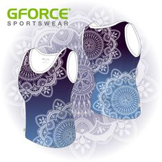 We're mad over this delicate mandala stencil pattern on one of our GFORCE Athletic vests Mandala Stencils, Team Wear, Athletics, Design Your Own, Dance Wear, Vests, Pattern Design, Mad, Athletic Wear