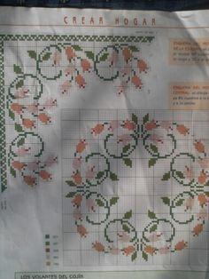 Punto de cruz Cross Stitch Embroidery, Embroidery Patterns, Cross Stitch Borders, Filet Crochet, Needlework, Diy Crafts, Elsa, Flowers, Alphabet
