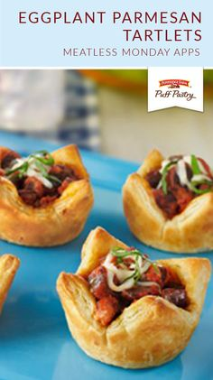 Here's an elegant twist on an eggplant parmesan sandwich…individual puff pastry tarts, topped with eggplant, sauce and melted cheese. Crescent Dough, Crescent Rolls, Pepperidge Farm Puff Pastry, Puff Pastry Sheets, Eggplant Parmesan, Puff Pastry Recipes, Dough Recipe, Meatless Monday, Food To Make