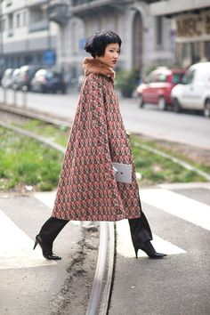 """The Best Milan Fashion Week Street Style: Fall 2015 - HarpersBAZAAR.com """"Beautiful, the collar and the way it falls"""""""
