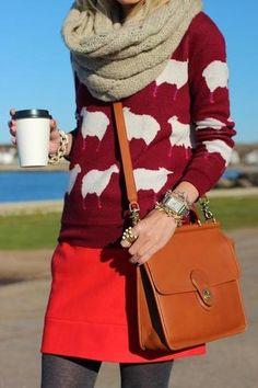 Patterned sweater with mini-skirt and contrasting tights - As much as I love this, good luck going coat-less in Chicago.