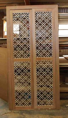 Moroccan themed laser cut panels that will be the inserts panels for the doors and the drawers.
