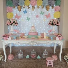 Image may contain: indoor Butterfly Party Decorations, Butterfly Birthday Party, Butterfly Baby Shower, Fairy Birthday, Birthday Party Decorations, Table Decorations, Girl 2nd Birthday, First Birthday Parties, Baby Shower Parties
