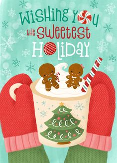 Wishing you the sweetest holiday! Hot cocoa and gingerbread. Christmas Mood, Christmas Quotes, Christmas Wishes, Christmas Projects, All Things Christmas, Grinch Stole Christmas, Merry Christmas, Christmas Stickers, Christmas Printables