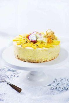 Passionsfrukt- och mangomoussetårta - Obeskrivligt god tårta med fräscha smaker.