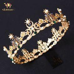 Gold Rhinestone Pearl Bridal Wedding Crown Baroque Headband Hair Accessories New Bridal Crown, Bridal Tiara, Bridal Jewelry, Loc Jewelry, Unique Jewelry, Lila Outfits, Crown For Women, Moon Wedding, Wedding Hair Accessories