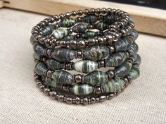 Green and Silver Paper bead wrap around memory wire by stillrain, $40.00