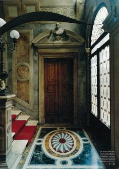 saved for blurb Grand staircase inside the Palazzo Papadopoli, Venice. Photo Simon Watson for W Magazine Oct 2007