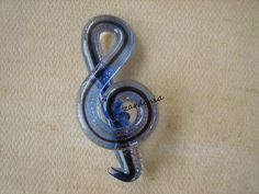 1PC  Glass Pendant  Music Note  Blue  56x25mm by ZARDENIA on Etsy, $3.75