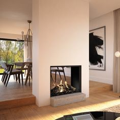 Modern two sided plaster fireplace Home Fireplace, Living Room With Fireplace, Fireplace Design, Living Room Decor, Two Sided Fireplace, Fireplaces, Dining Room, Living Room Designs, Living Spaces