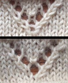 "The bottom chevron is the traditional one, asymmetrical, but with a more open YO. The top one uses a modified ""bunny ear"" decrease with a yarn over inserted between the two halves. This makes for better symmetry, but a less open YO at the bottom of the V. Crochet Stitches Patterns, Knitting Stitches, Stitch Patterns, Knitting Patterns, Knitting Help, Lace Knitting, Crochet Cross, Knit Or Crochet, How To Purl Knit"