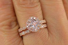 SET  Caroline Princess Cut Morganite in Rose by DiamondDoveJewelry, $1,290.00
