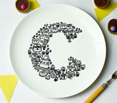 """C is for Cake Alphabet Plate (from """"justnoey"""" on etsy)"""