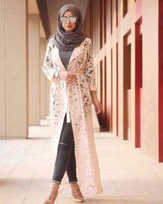 white lace cardigan hijab